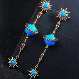 Betsey Johnson Blue Planet and Sun Earrings